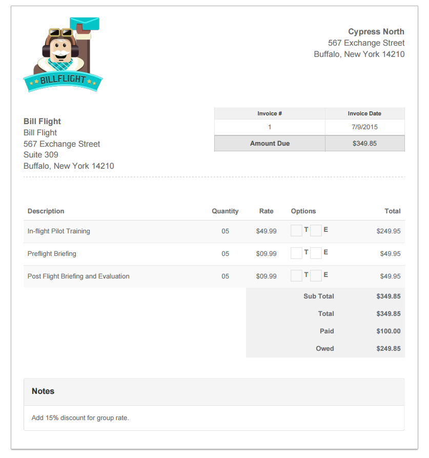 Sample Invoice Example Of An Invoice Created By Bill Flight Bill - Create billing invoice